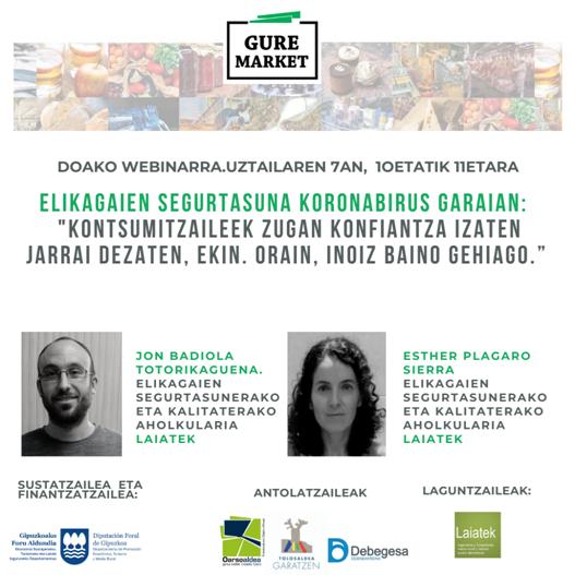 """Presentación Webinar 3 – #GureMarket """"Seguridad alimentaria en tiempos de Coronavirus"""""""